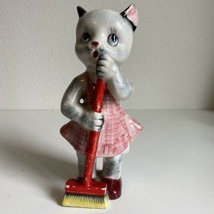 50s Ceramic Cat Figure Statue With Broom Apron